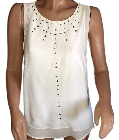 Remera /blusa En Gasa,doble Tela, Zara,made In Marruecos, M
