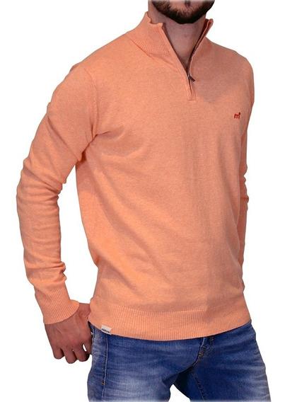 Sweater Pullover 1/2 Cierre Algodón Hombre Mistral Moda Bordado