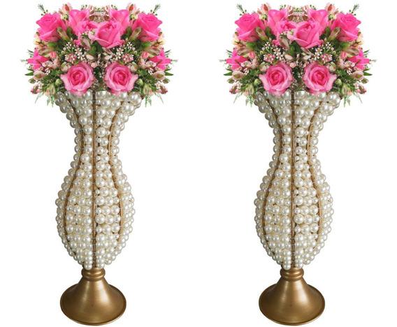 2 Vasos De Pedrarias Pérolas Cristal 30cm Luxo Kit Decoração