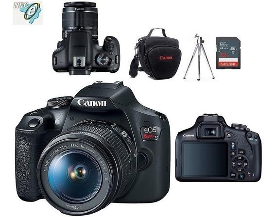Câmera Canon Rebel T7 Com 18-55+32gb+bolsa+tripe Nota Fiscal