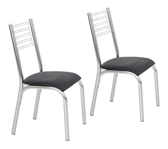 Conjunto 2 Cadeiras Aço Camila Ciplafe Cromado/preto Gb
