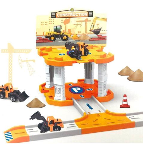 Estación De Construcción 1 Nivel Juguete Con Auto Y Pista