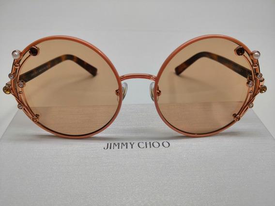 Óculos De Sol Jimmy Choo Gema/s Rosê Fwm2s Com Marrom