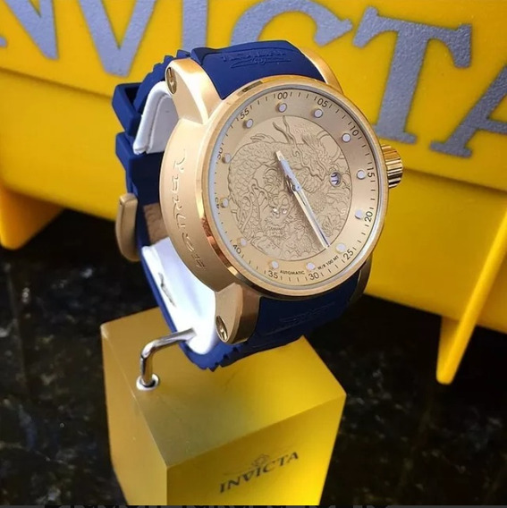 Relógio Yakusa Azul E Dourado.