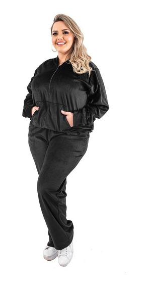 Conjunto Feminino Plush Plus Size Veludo Calça E Blusa Frio