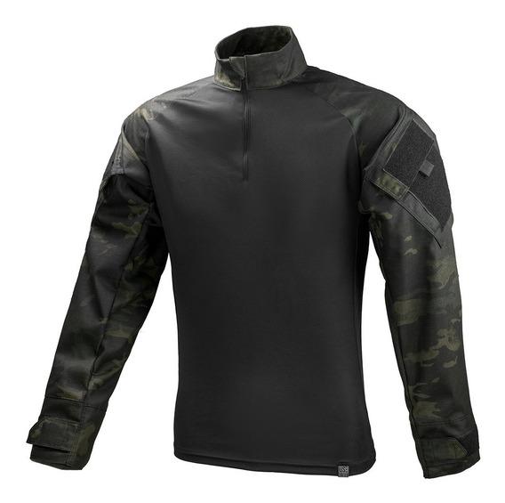 Camisa Combat Shirt Tática Multicam Black Militar Reforçada