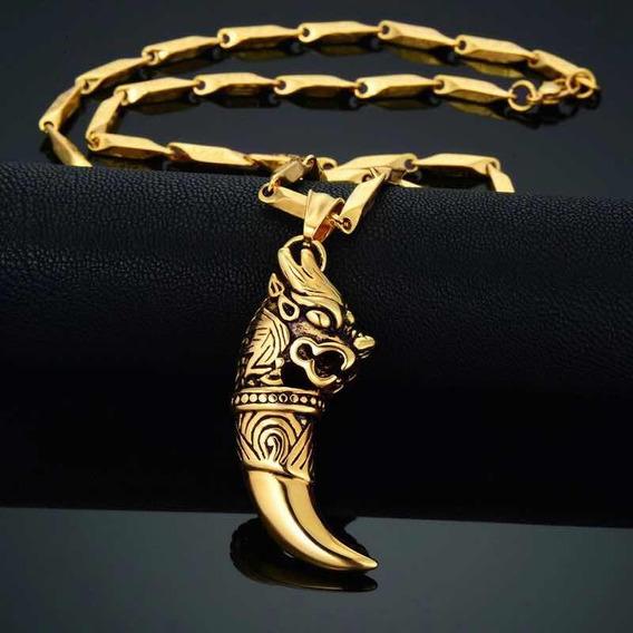 Collar Colmillo De Dragón Acero Inox Y Oro Lam.