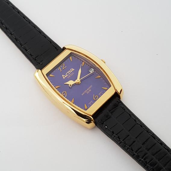 Relógio Feminino Activa Swiss Movement Retrô Azul Imperial