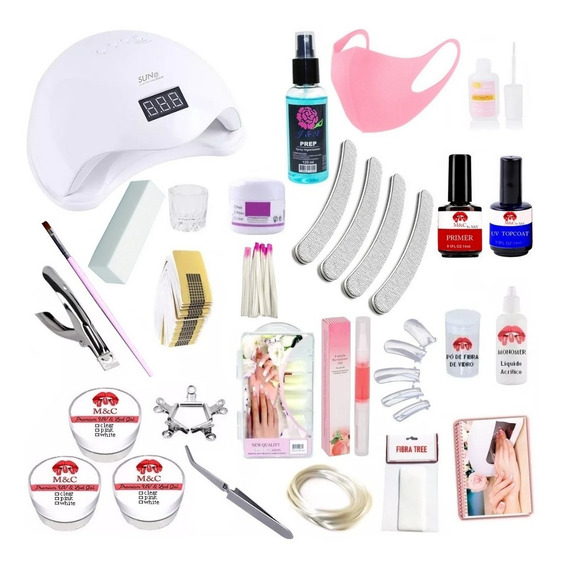 Kit Unhas Gel Porcelana Acrigel Fibra Completo Moldes 340