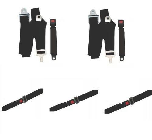Kit 2 Cinturones Seguridad Delanteros + 3 Cinturones Trasero