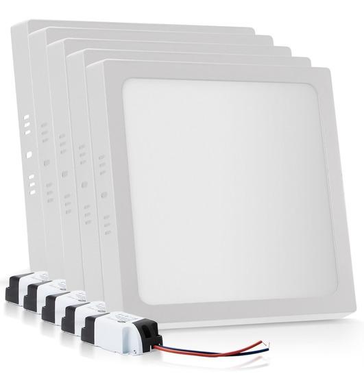 Kit 5 Painel Plafon Sobrepor 25w Led Quadrado Branco Frio Qm