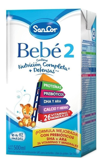 Leche de fórmula líquida Sancor Bebé 2 por 36 unidades de 500mL
