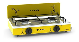 Fogão Mesa Inox Portatil Gás 2 Bocas Vetro Amarelo Venax