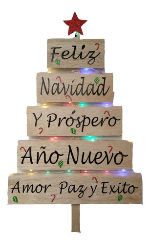 Frase Madera Arbol Navidad Con Luces Personalizado Armado