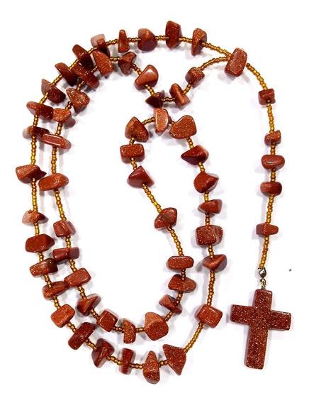 Terço Colar Católico P/ Oração Da Pedra Do Sol C/ 50 Cm Comp