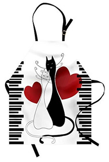 Ambesonne Cats Delantal Romántico Gatitos Mascotas Pareja D