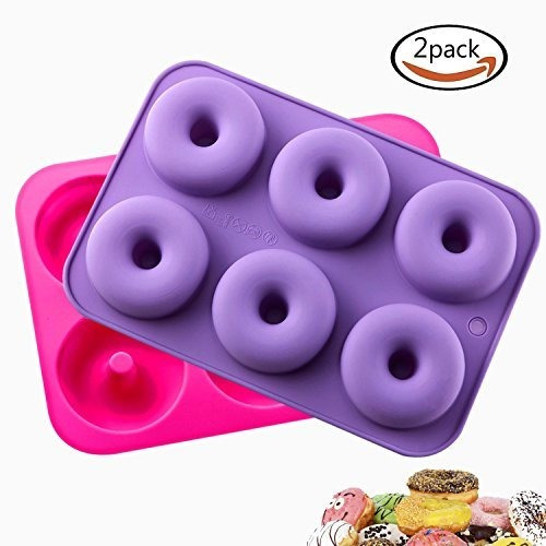 Klemoo 2pack Donut Para Hornear Pan Silicone Nonstick Mold B