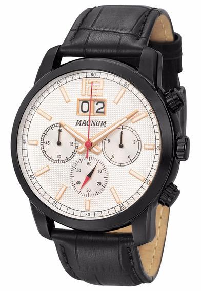 Relógio Magnum Masculino Preto Couro Ma34950d