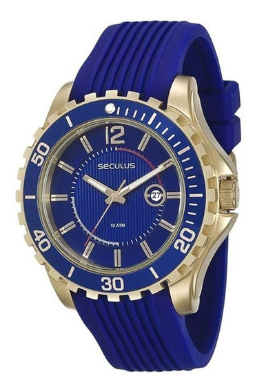 Relógio Seculus Masculino Pulseira Azul 20356gpsvdu2