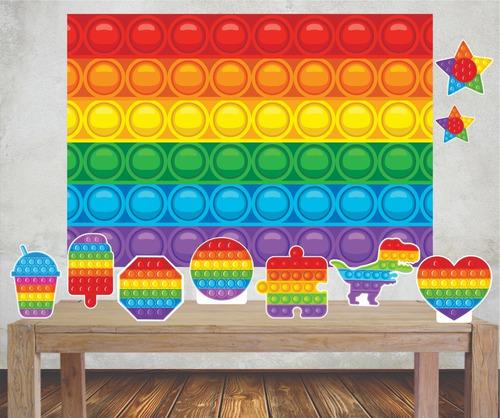 Imagem 1 de 4 de Kit Festa Poli Banner + Displays Pop It Push Big Fidget Toys