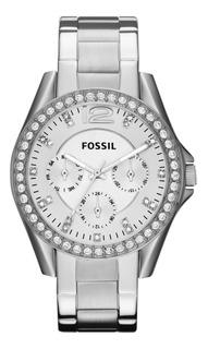 Ed Especial Reloj Fossil Es3202 Silver Cronografo Env Gr