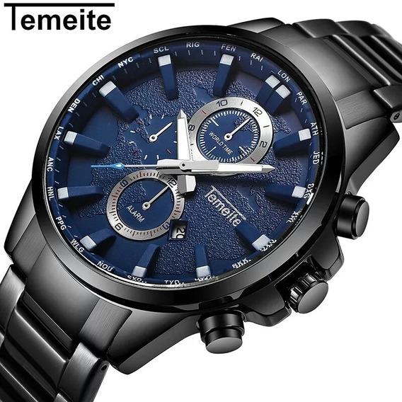 Relógio Masculino Temeite Black/blue Em Aço Inoxidável
