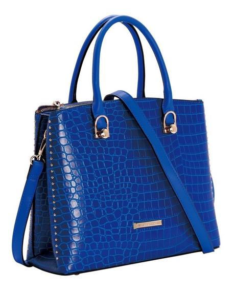 Bolsa Feminina De Mão Croco Deluxe Festa Chenson Azul 81101