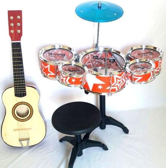 Kit Infantil Bateria Musical Com Banco+ Mini Violão Madeira
