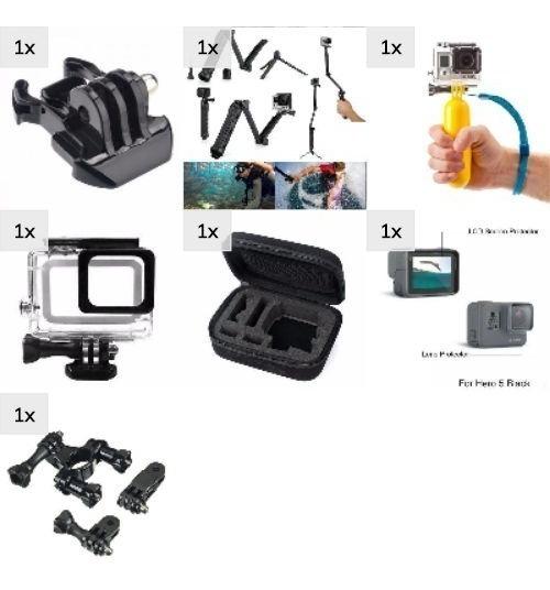 Kit Gopro 7 Black Maleta Películas Estanque 3 Way Bike Boia