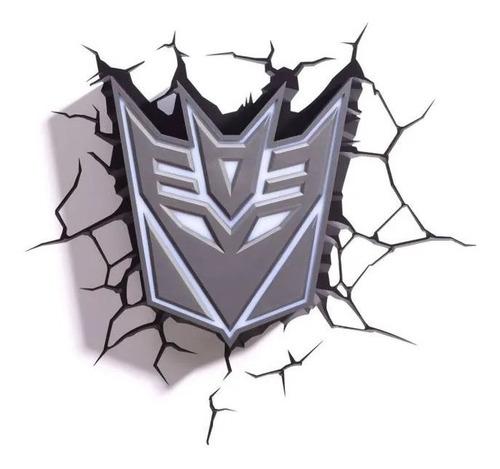 Luminária 3d Light Fx Transformers Escudo Decepticon