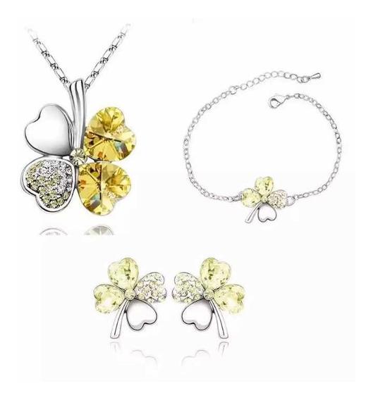 Aretes Y Collar Pulsera Trébol Chapa Oro Cristales Swarovsk