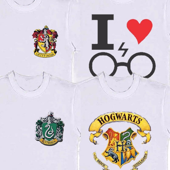 Camiseta Infantil Harry Hogwarts Grifinória Sonserina