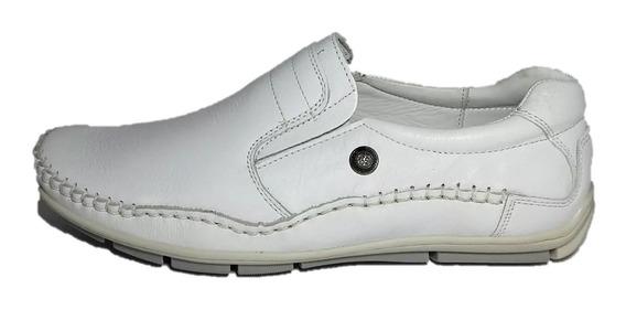 Zapato Ringo Nautico Blanco Bilgax Hombre Cuero Pancha