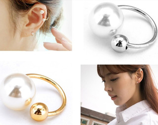2 Earcuff Solitario Zarcillo Perla Doble Moda Fashion Mujer
