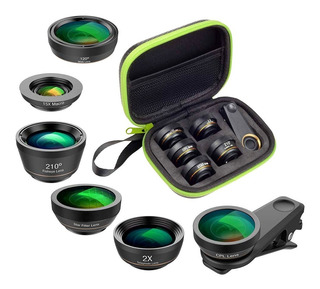 Kit 6in1 Apexel Lente Fisheye Cpl Macro P/ Celular E iPhone