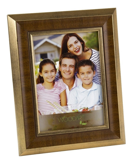 Porta Retrato Chanfrado Madeira 15x21cm Dourado Woodart