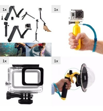Kit 3 Way Caixa Estanque Bastão Dome Gopro Hero 5 E 6 Black