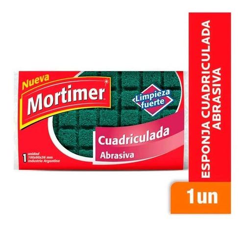 Esponja Cuadriculada Abrasiva Limpieza Fuerte Mortimer X1 Un