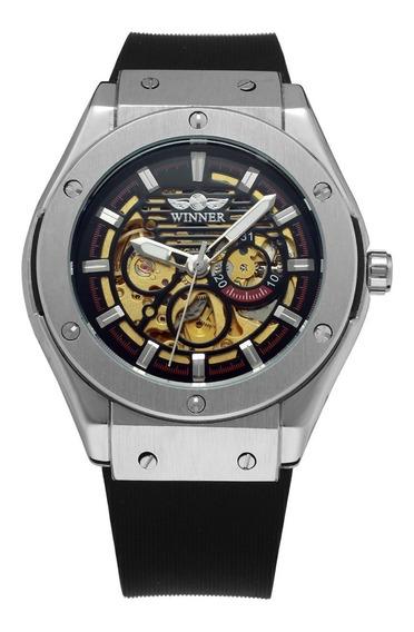 Reloj Hombre T-winner Automatico Skeleton Correa Caucho 12
