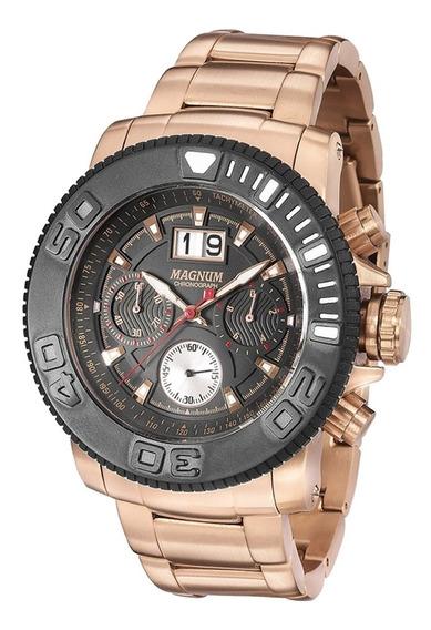 Relógio Magnum Masculino Cronógrafo Ma33264p Rose Aço Grande