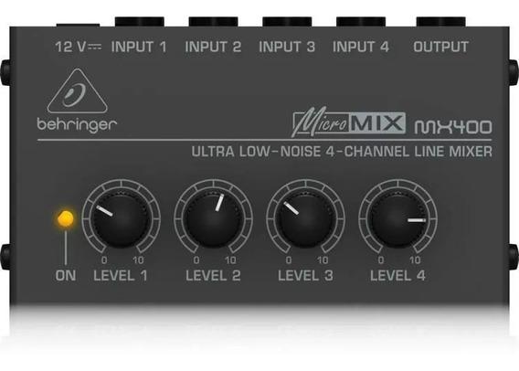 Mixer De Áudio Compacto Com 04 Canais Behringer Mx-400