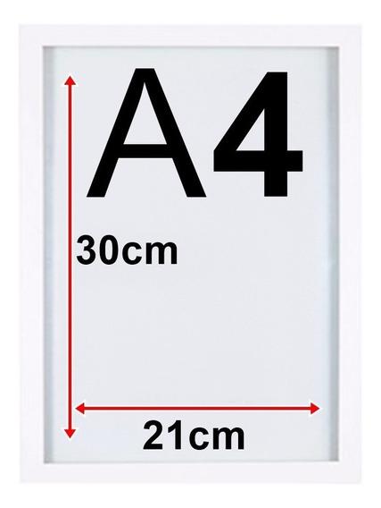 5 Moldura Quadro A4 21x30 Com Vidro E Forro Mdf Cor Branco