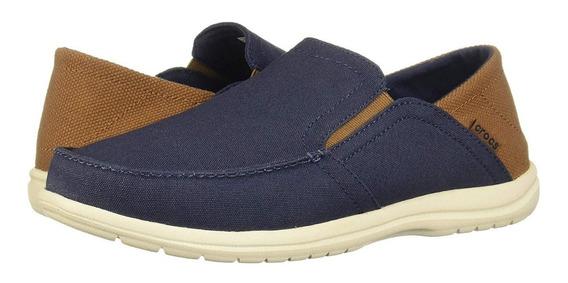 Zapato Crocs Hombre Santa Cruz Naut Azul-cafe Talla 28 Mx Nuevos Originales Antes$1700