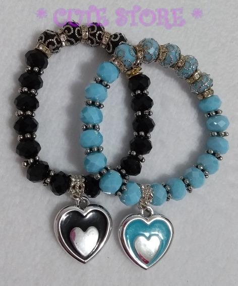 Pulseira Coração Cristal Facetado Preto Azul Claro Kit Com 2