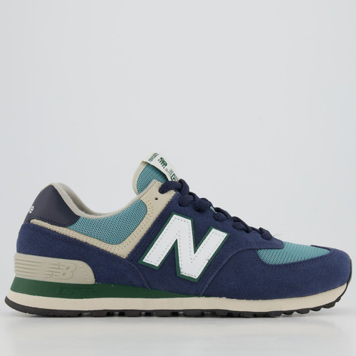 Tênis New Balance 574 Azul Marinho E Verde - R$ 309,9