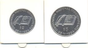 Dos Monedas De $2 Y $5 Convencion Constituyente 1994 Niquel