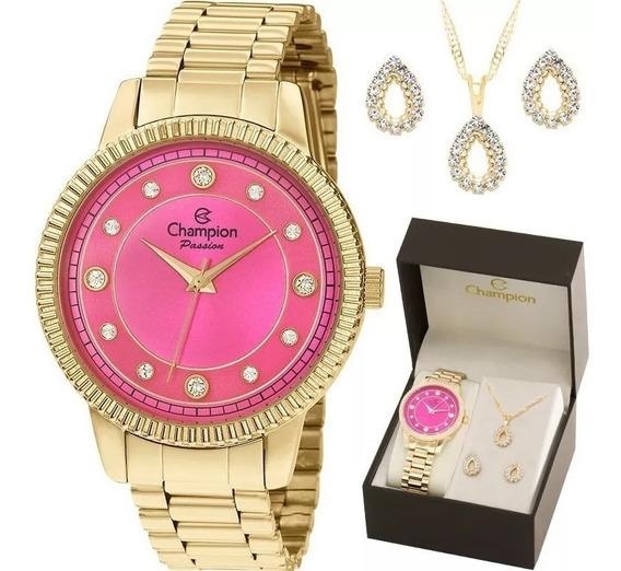 Relógio Feminino Dourado Fundo Rosa Champion À Prova D