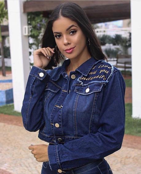 Jaqueta Blusa Feminina Detalhe Frase No Ombro