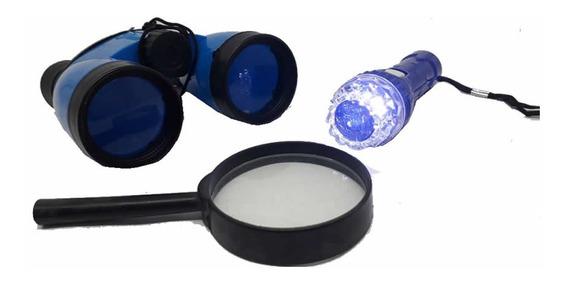 Kit D P A Detetive Explorador Binóculo, Lupa E Lanterna