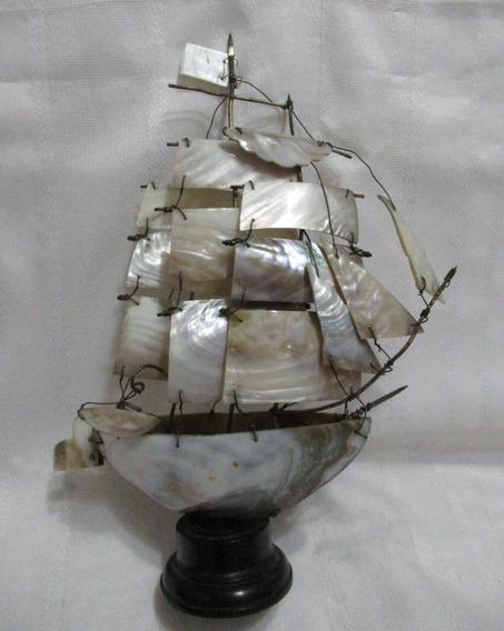 Barco Nave 3d En Escala Nácar Madreperla Bronce Madera